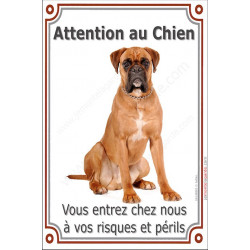 Plaque 24 cm LUXE, Attention au Chien, Boxer Fauve Assis