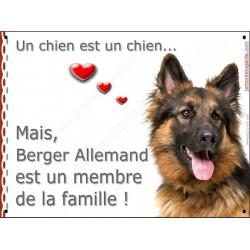 """Berger Allemand Poils Longs, plaque Attention """"un chien est un membre famille"""" affiche panneau pancarte photo idée cadeau"""