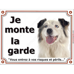 """Aussie Bleu Merle, plaque """"Je Monte la Garde"""" 3 tailles LUX B"""