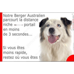 Berger Australien Bleu Merle et blanc tête, Plaque Portail humoristique, pancarte affiche panneau drôle, parcourt distance niche