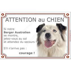 Berger Australien Bleu Merle et blanc Tête, Panneau Attention au Chien marrant drôle, affiche plaque, jetez-vous au sol et atten