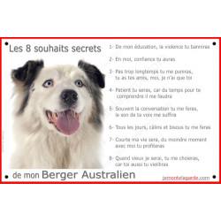 """Aussie Bleu Merle, plaque """"Les 8 Souhaits Secrets"""" 24 cm CDT"""
