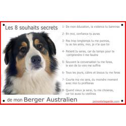 Berger Australien Tricolore Noir tête, Panneau Portail, affiche panneau, plaque commandements éducation Attention au Chien