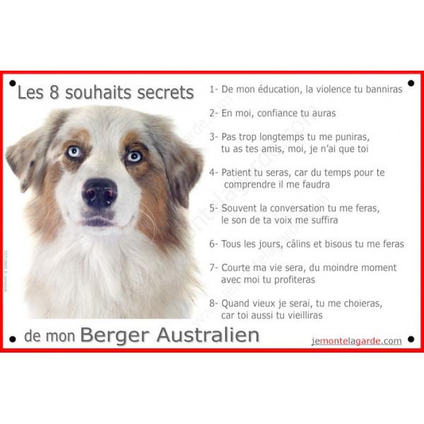 Berger Australien Blanc et Rouge Merle tête, Panneau Portail, affiche panneau, plaque commandements éducation Attention au Chien