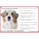 Plaque 24 cm CDT, 8 Souhaits Secrets, Berger Australien Blanc et Rouge Merle Tête