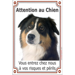 Plaque 24 cm LUXE, Attention au Chien, Berger Australien Tricolore Noir Tête