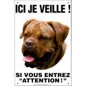Plaque 24 cm ECO Ici je veille, Dogue de Bordeaux