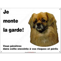 Plaque 26,5 cm ECO Je Monte la Garde, Epagneul Tibétain