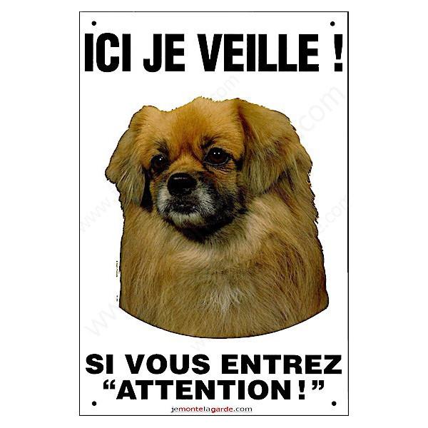 Epagneul Tibétain Tête, pancarte verticale pour portail ici je veille, plaque affiche panneau attention chien