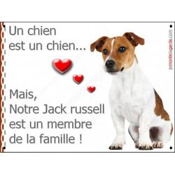 Plaque 16 cm LOVE Membre de la Famille, Jack Russell