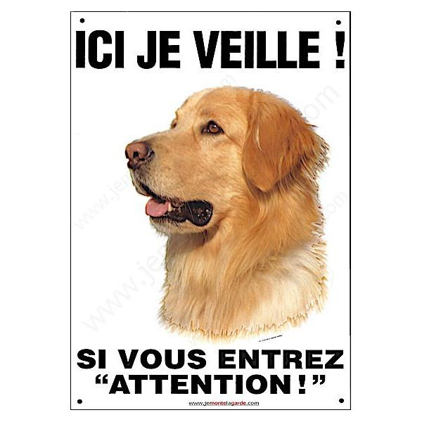 Hovawart Blond Tête, pancarte verticale pour portail ici je veille, plaque affiche panneau attention chien Howawart