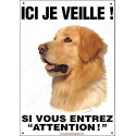 "Hovawart Blond, plaque ""Ici je veille"" 24 cm ECO"