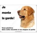 """Hovawart Blond, plaque portail """"Je Monte la Garde"""" 24 cm ECO"""