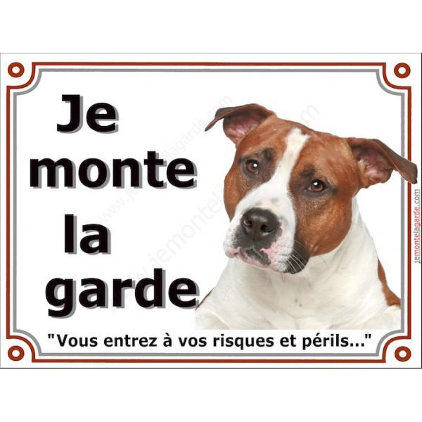 American-Staff Fauve, Plaque Je Monte la Garde, panneau pancarte affiche, amstaff, am, staff, risques périls