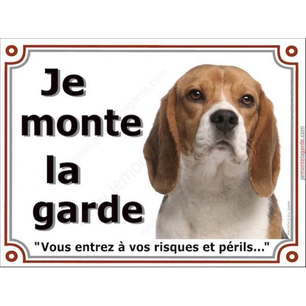 Beagle Tête Panneau Je Monte la Garde, plaque affiche pancarte, risques et périls, attention au chien