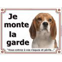 """Beagle tête, plaque portail """"Je Monte la Garde"""" 2 Tailles LUXE"""