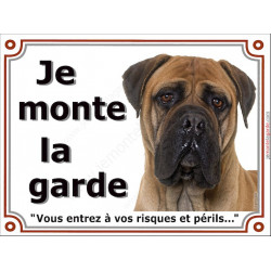 Plaque 3 tailles LUXE je Monte la Garde, Bullmastiff Fauve Tête
