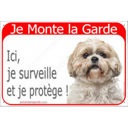 Shih-Tzu Fauve tête, Plaque Portail Je Monte la Garde, surveille protège, pancarte, affiche panneau attention au chien