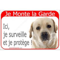 Labrador Sable, Plaque  Je Monte la Garde, surveille protège, pancarte, affiche jaune beige attention au chien panneau