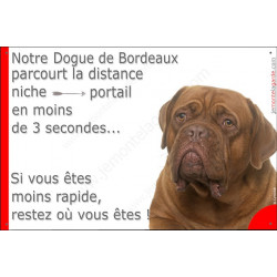 """Dogue de Bordeaux, plaque """"distance Niche - Portail"""" 24 cm 3SEC"""