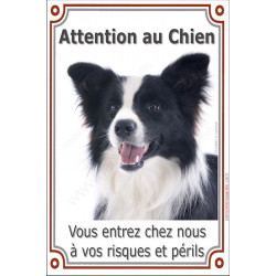Plaque 24 cm LUXE Attention au Chien, Border Collie Noir et blanc Tête