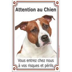 "Am-Staff Fauve Tête, plaque verticale ""Attention au Chien"" 24 cm VL"