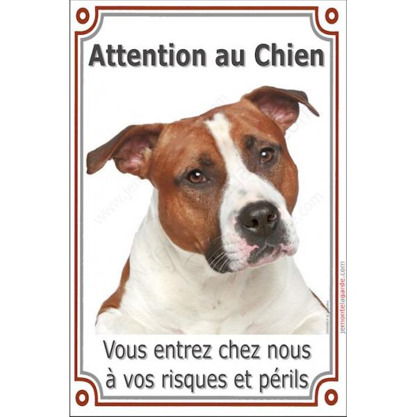 Am-Staff, plaque portail verticale attention au chien, pancarte affiche panneau, risques et périls staff am tête