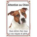 """Am-Staff Fauve Tête, plaque verticale """"Attention au Chien"""" 24 cm VL"""