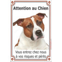 Plaque 24 cm LUXE Attention au Chien Am-Staff Fauve Tête