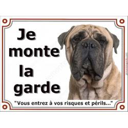 """Bullmastiff Fauve Sable Tête, Plaque portail """"Je Monte la Garde, risques périls"""" panneau affiche pancarte photo beige"""