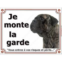 "Bullmastiff Tête, plaque ""Je Monte la Garde"" 2 tailles LUX B"