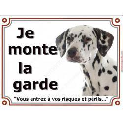 Dalmatien Tête, Plaque portail Je Monte la Garde, panneau affiche pancarte, risques périls