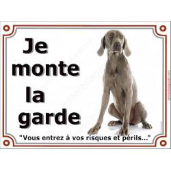Braque de Weimar Assis, Plaque portail Je Monte la Garde, panneau affiche pancarte, risques périls