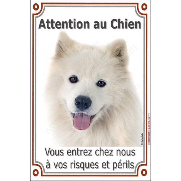 Samoyède Tête, Plaque Portail Attention au Chien, affiche panneau, risques et périls