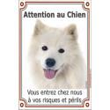 Plaque 24 cm LUXE, Attention au Chien, Samoyède Tête