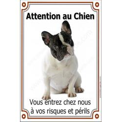 """Bouledogue Français caille, panneau portail vertical """"Attention au Chien, risques périls"""" plaque pancarte affiche noir et blanc"""