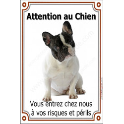 Plaque 24 cm LUXE Attention au Chien, Bouledogue Français Caille assis