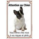Plaque 24 cm LUXE Attention au Chien, Bouledogue Français Caille assis