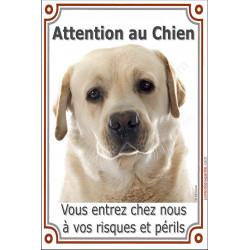 """Labrador Sable plaque verticale """"Attention au Chien"""" 24 cm VLC"""