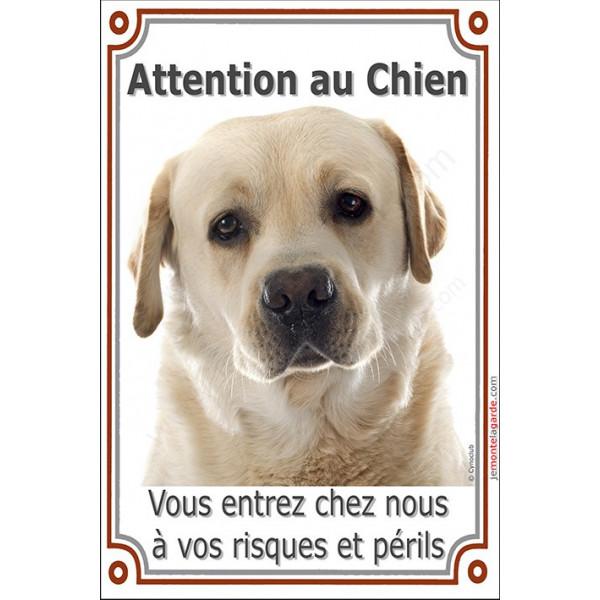 Labrador Sable Tête, Plaque Portail Attention au Chien verticale, risques périls, pancarte, affiche panneau jaune beige