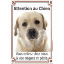 """Labrador Sable Tête plaque """"Attention au Chien"""" 24 cm Vlux"""