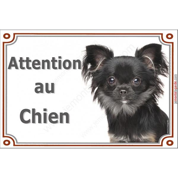 Chihuahua poils longs noir et feu Tête, Plaque portail Attention au chien, panneau affiche pancarte