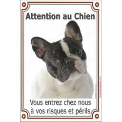 """Bouledogue Français Caille, plaque portail verticale """"Attention au Chien"""" pancarte panneau photo bulldog noir et blanc"""