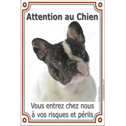 Plaque 24 cm LUXE Attention au Chien verticale, Bouledogue Français Caille Tête