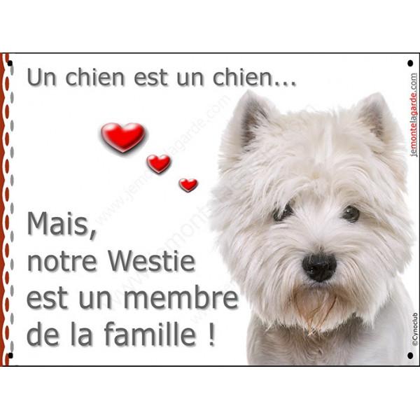 Plaque portail, attention au chien, Membre de la Famille, Westie tête, pancarte panneau westy blanc coeur