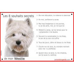 Plaque 24 cm CDT, 8 Souhaits Secrets, Westie Tête