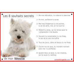 Plaque 24 cm CDT, 8 Souhaits Secrets, Westie couché