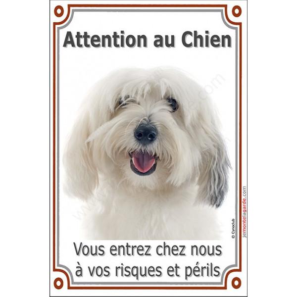 Plaque portail Attention au Chien verticale, Coton de Tuléar Tête, risques et périls pancarte panneau