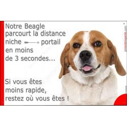 Plaque attention au chien Beagle parcourt Distance Niche - Portail moins 3 secondes, rapide pancarte humour drôle marrant