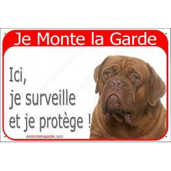 Plaque portail rouge 24 cm, Je Monte la Garde, Dogue de Bordeaux face rouge Tête, pancarte panneau surveille et protège
